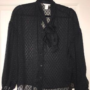 Black tow tie blouse